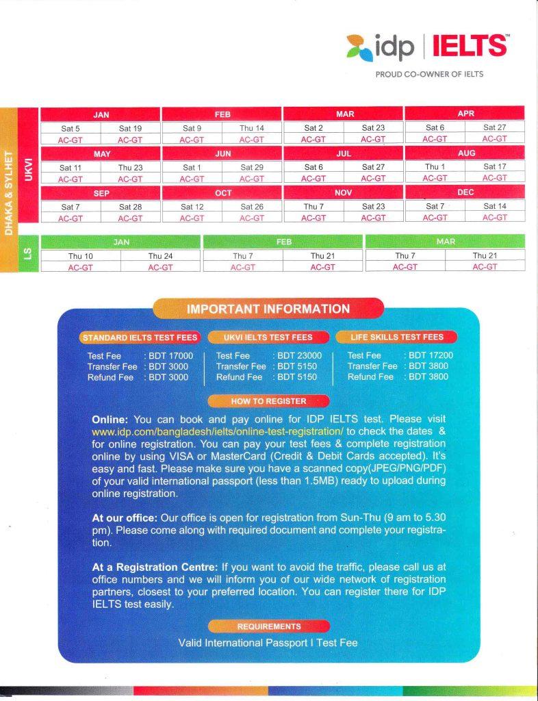 IDP IELTS Test Dates JAN to DEC 2019